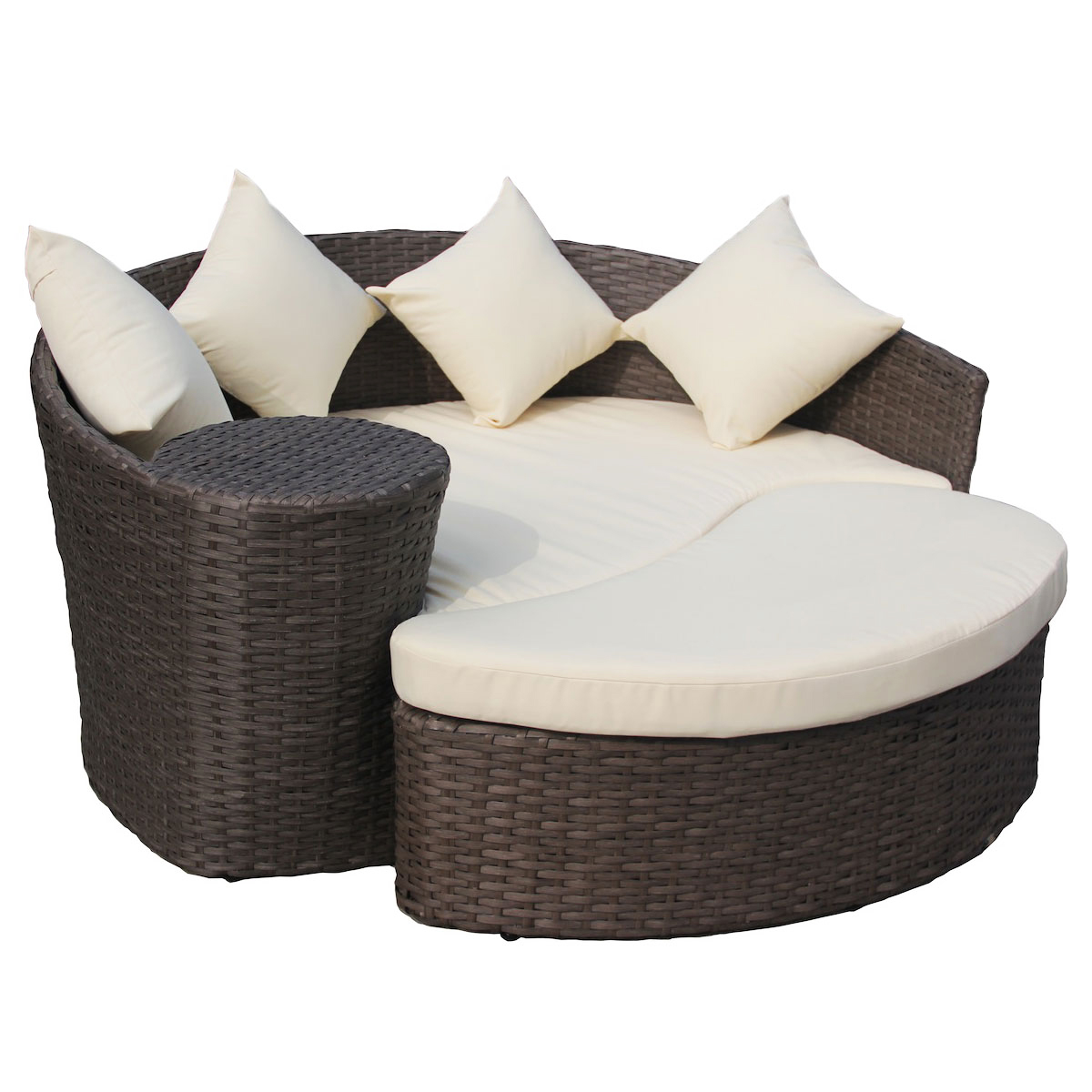 Curved Rattan Garden Sofa: Wicker Rattan Curved Day Bed / Sofa & Footstool