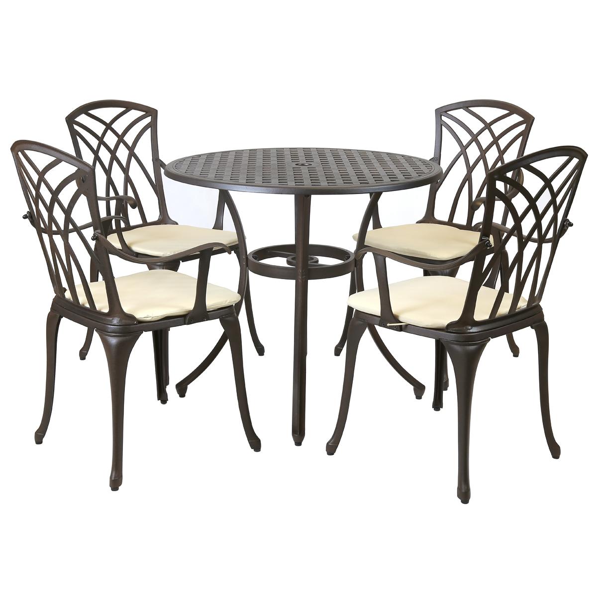 Excellent Cast Aluminium 4 Seater Dining Set Evergreenethics Interior Chair Design Evergreenethicsorg