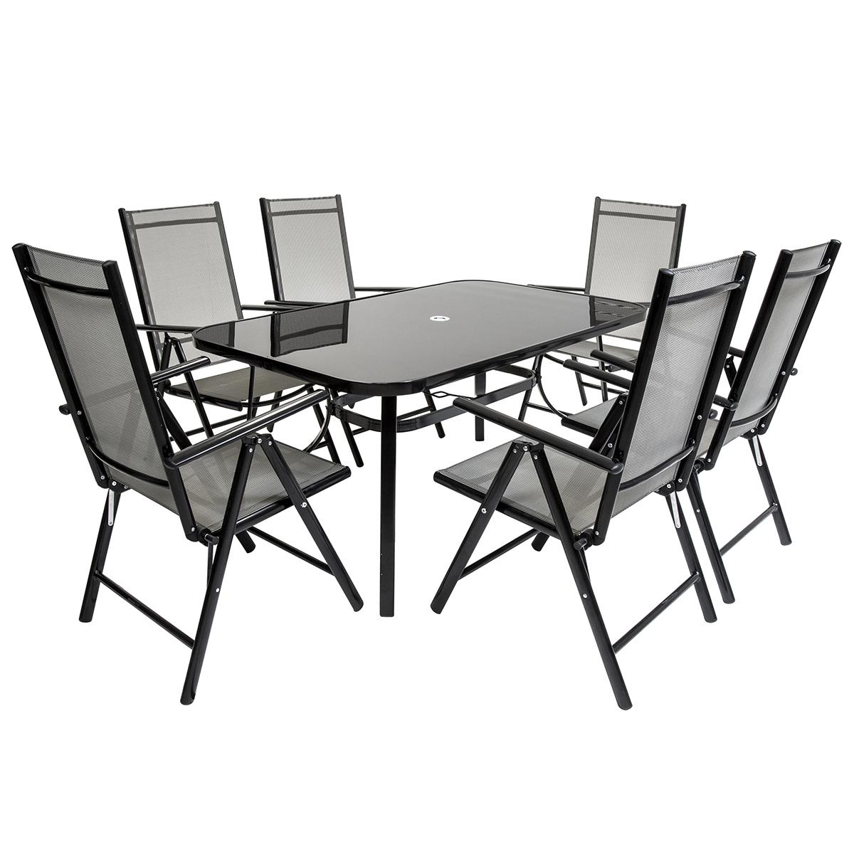 6 Seater Rectangular Textilene Table Seats Garden Set Black Rattan Furniture Patio Conservatory