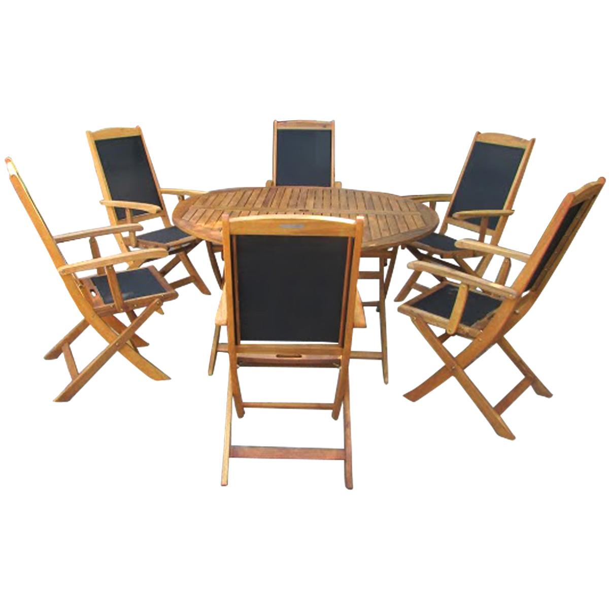 Acacia Wood Round Table 6 Textilene Folding Chairs Dining Set