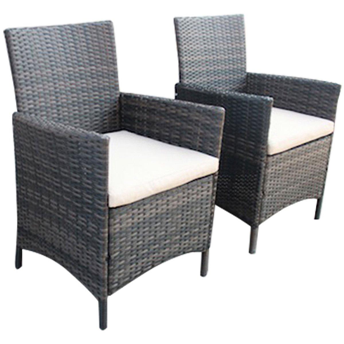 Verona Pair Of Rattan Dining Chairs Garden Furniture Brown