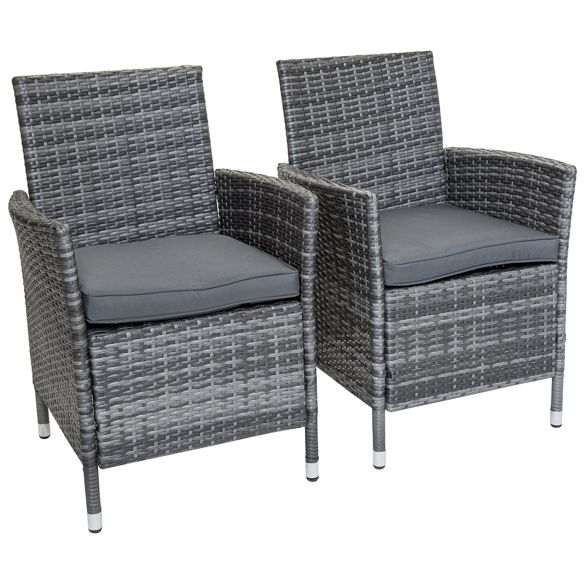 Napoli pair of rattan dining chairs garden furniture grey