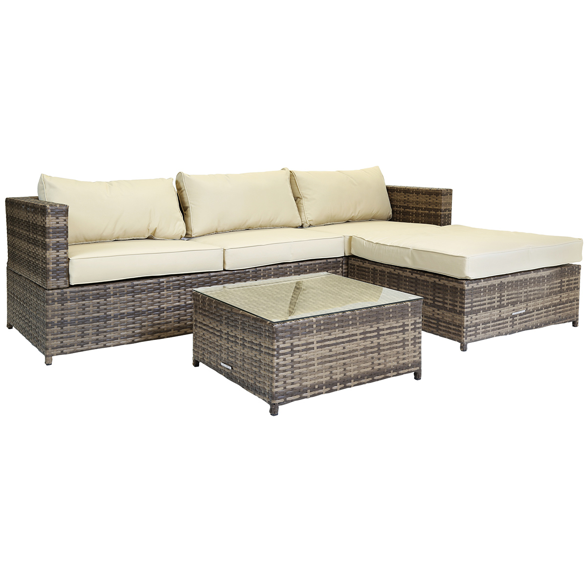 L Shaped 3 Seater Outdoor Rattan Furniture Lounge Set Brown