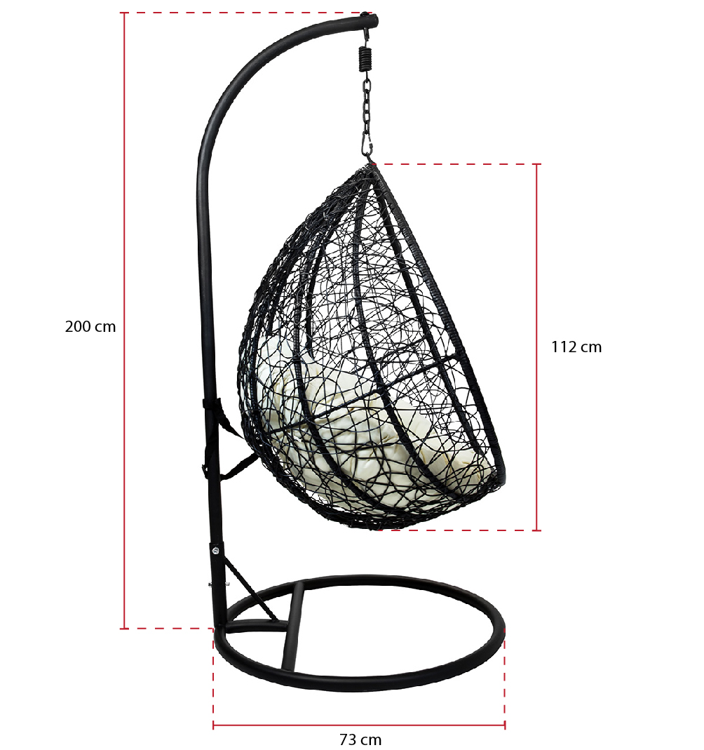 Wicker Hanging Swing Chair Black Rattan Garden Furniture Sets